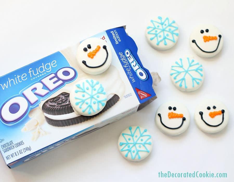 snowflake and snowman Oreos (and how to draw a snowflake) -- great homemade Christmas gift idea