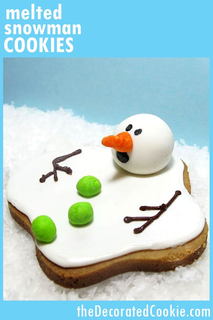 The ORIGINAL melting snowman cookies, created by TheDecoratedCookie.com. Tutorial on how to make this now-classic Christmas and holiday cookie idea. #MeltedSnowmanCookies