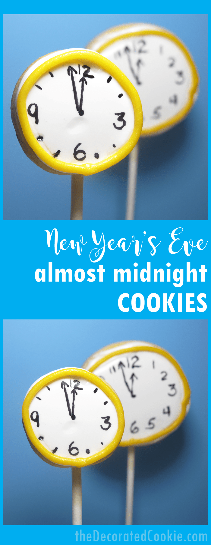 New Year's Eve almost midnight clock cookie pops.