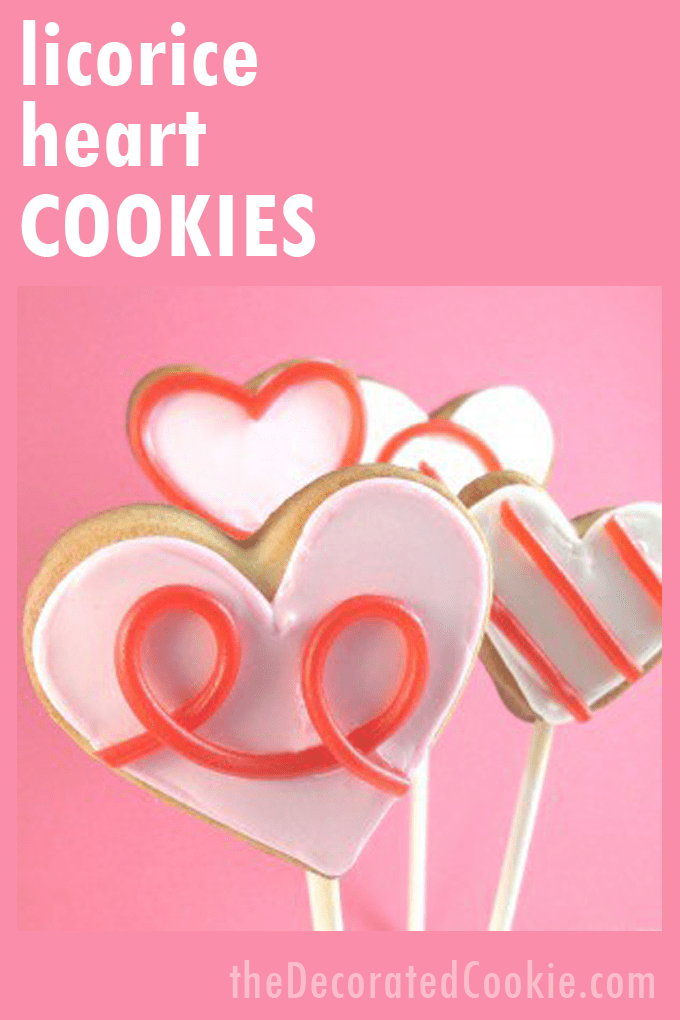 LICORICE HEART COOKIES - How to decorate Valentine's Day heart cookies with licorice.