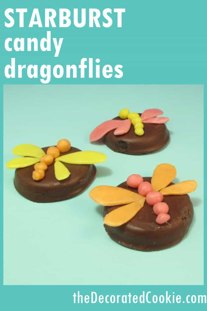 Make a Starburst candy dragonfly to top cookies and cupcakes, a fun food idea for Spring, summer or a bug-themed birthday party. #StarburstCandy