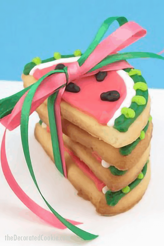 stack of watermelon slice cookies