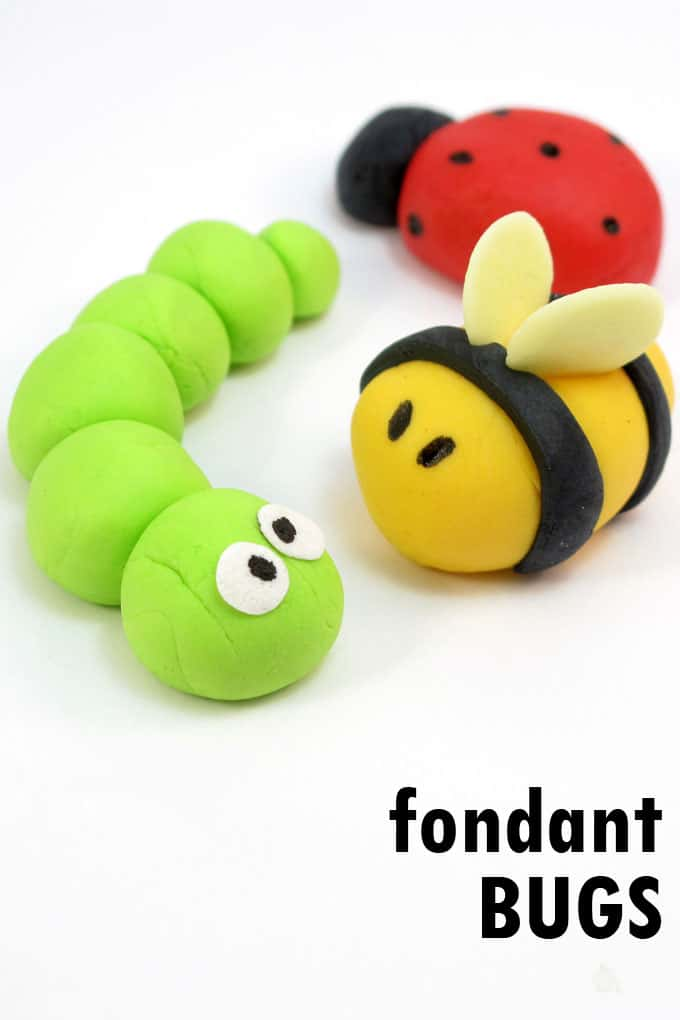 How to make easy fondant bus, a caterpillar, bumble bee, and lady bug. Perfect spring toppers for decorating cookies, cupcakes, and cakes.