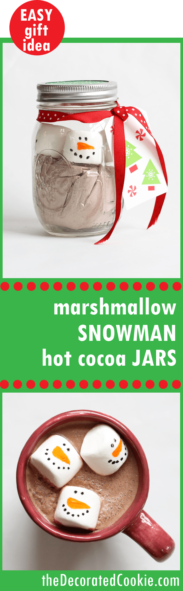 Marshmallow snowman hot cocoa jars, holiday gift idea. #christmasgift #homemadegiftidea #masonjargifts #marshmallowsnowman #hotcocoagift