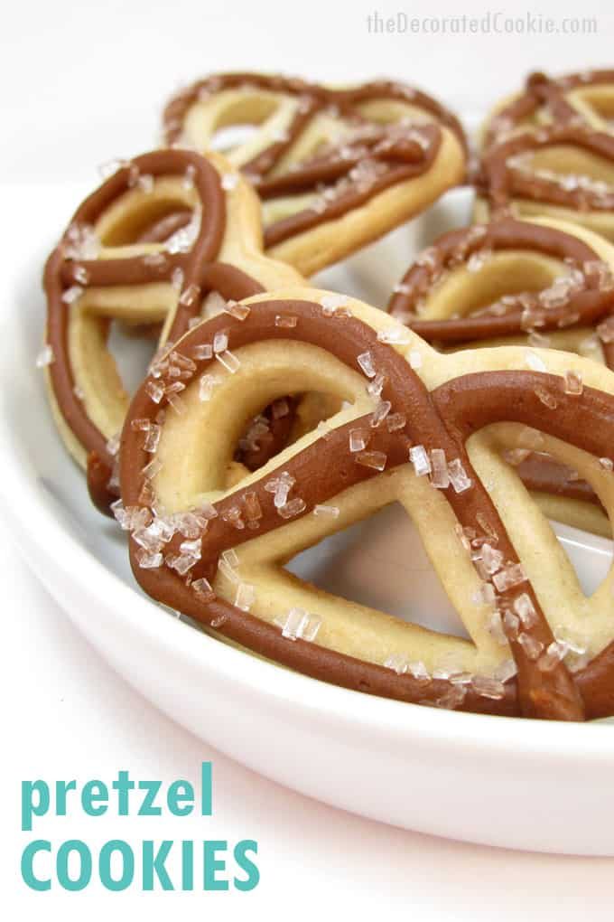 Pretzel cookies: How to decorate cookies that look like pretzels, a fun Super Bowl party snack or dessert idea.