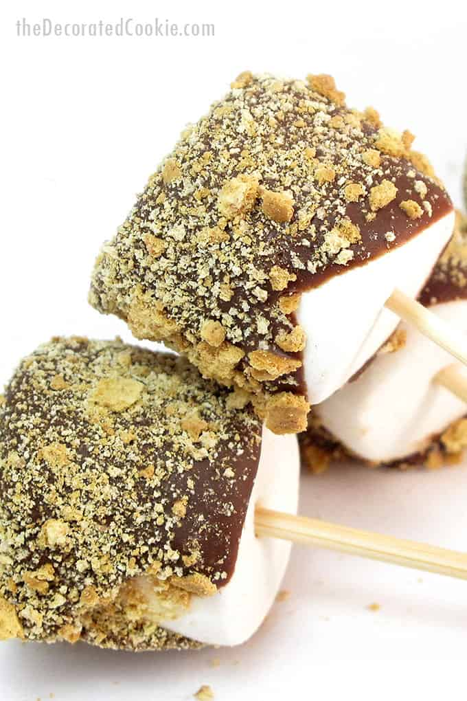 s'mores pops close-up