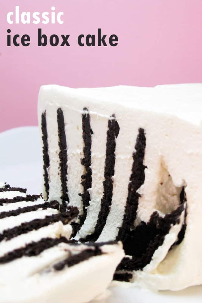 ice box cake is a classic, delicious, no-bake dessert made with Nabisco chocolate wafers and whipped cream #iceboxcake