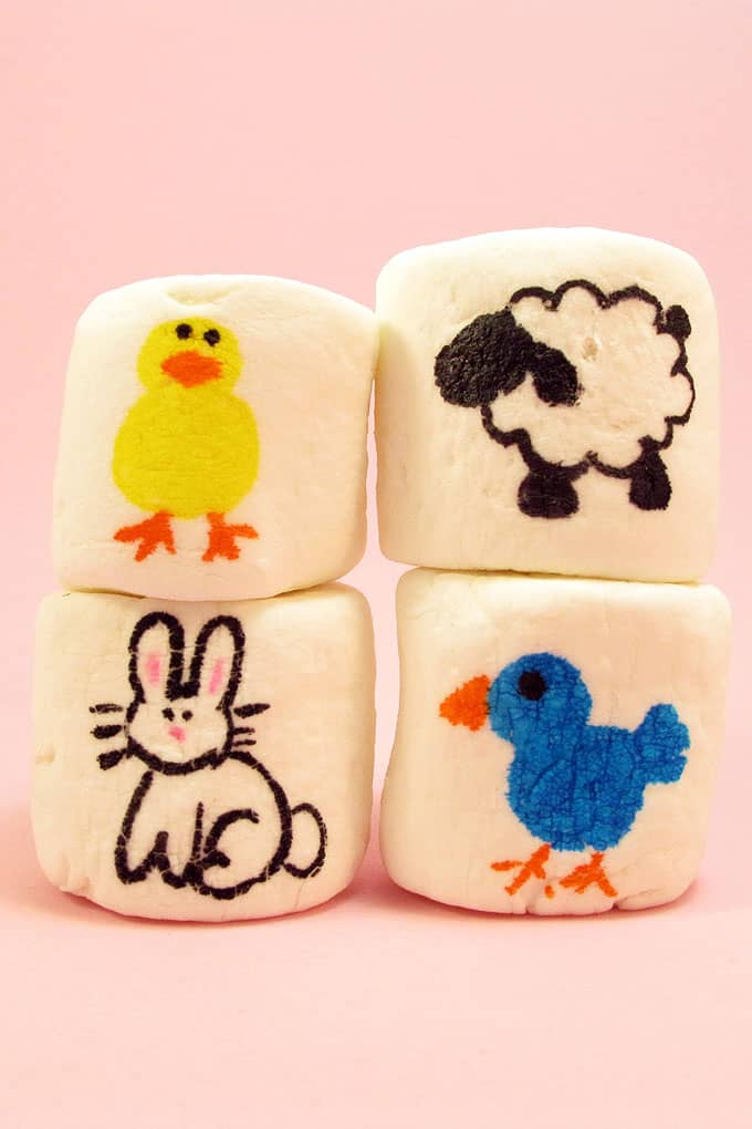 How to use food coloring pens to make Easter marshmallows with Easter animals. How to draw a bunny, bird, chick, and lamb.