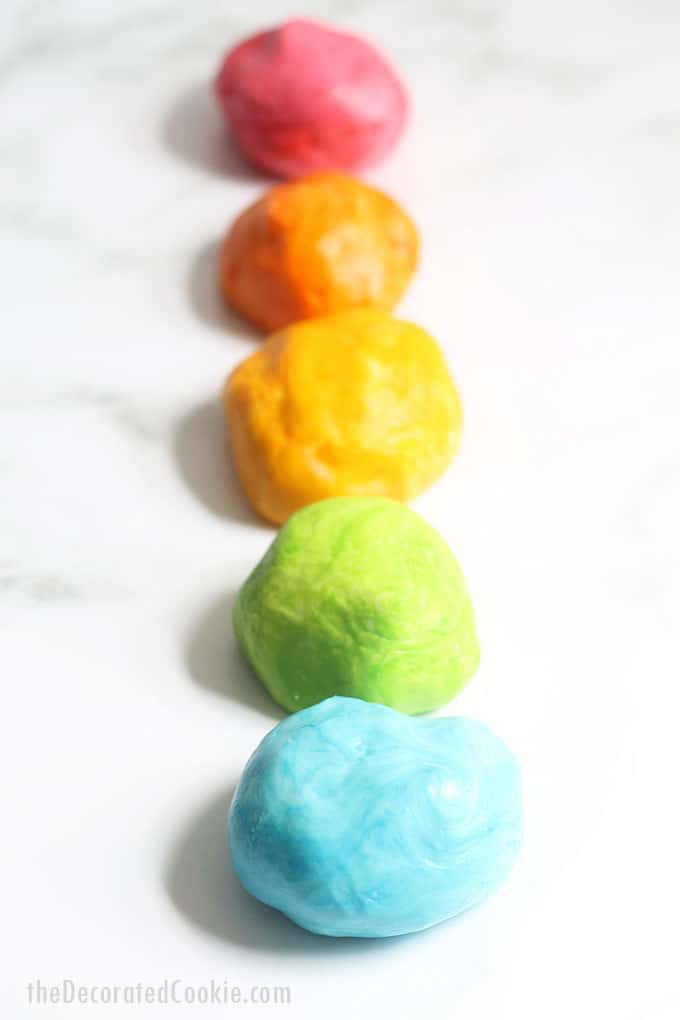 Row of colorful marshmallow fondant