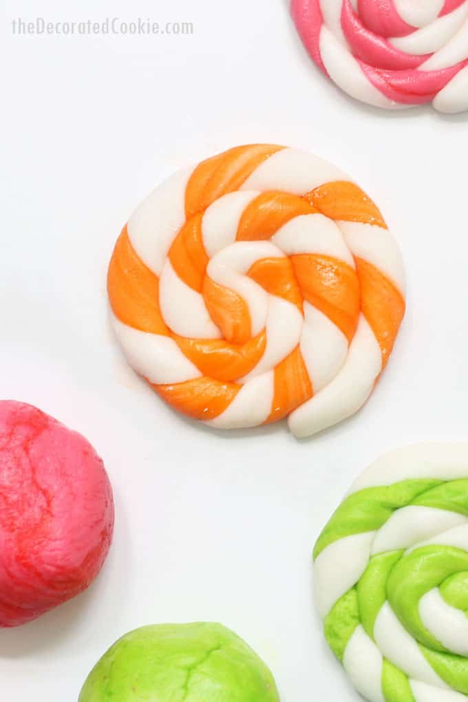 colorful marshmallow fondant swirls