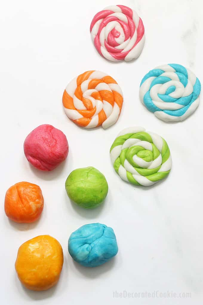 marshmallow fondant in colors