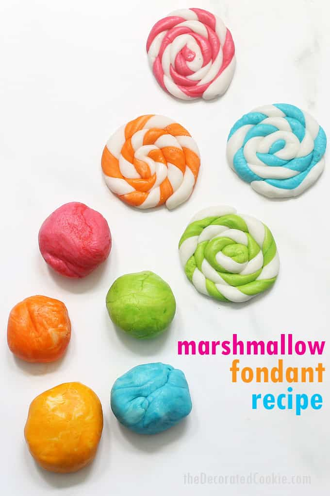 marshmallow fondant with different colors