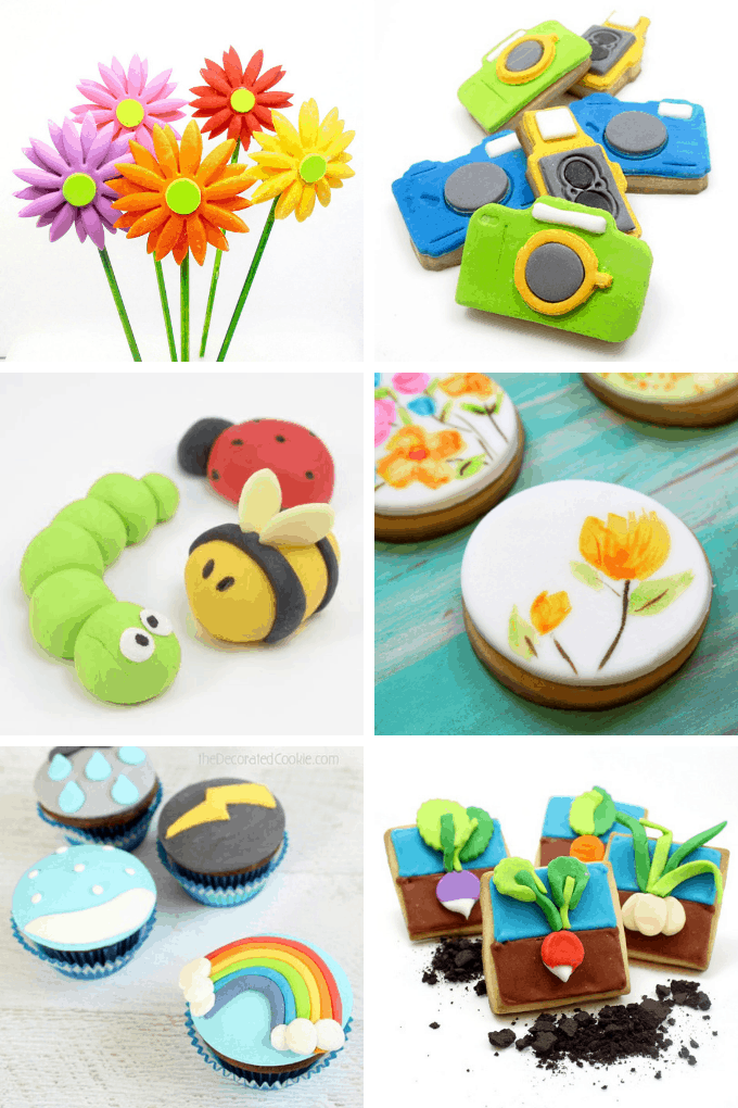 A collage of 6 treats using fondant.