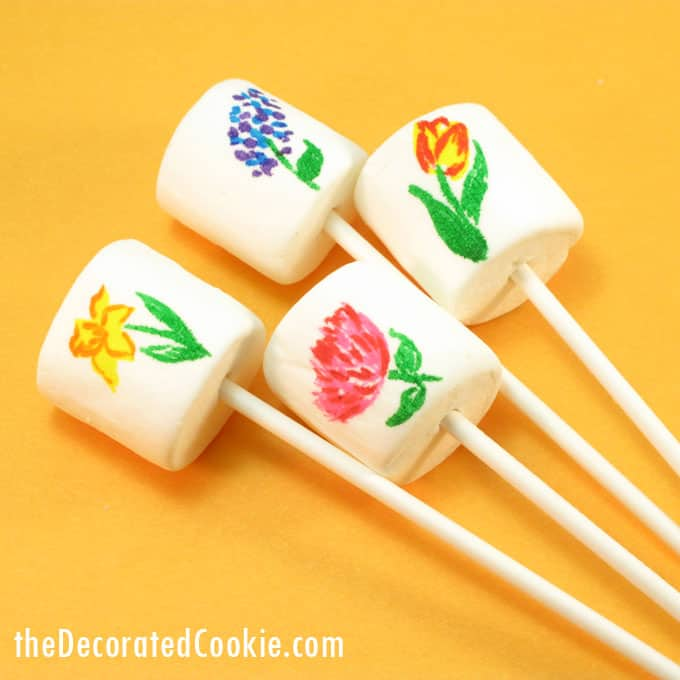 Spring marshmallows: Make flower marshmallows with food coloring pens, and instructions on how to draw flowers.