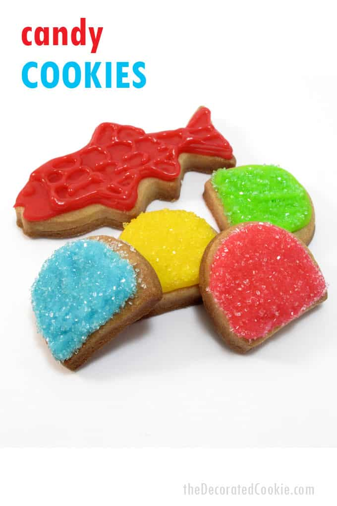 Candy cookies: How to decorate cookies with royal icing and sprinkles to look like Swedish Fish and gumdrops.