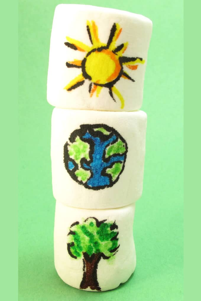 Easy Earth Day marshmallows: Decorate marshmallows with food coloring pens for an Earth Day treat idea. #EarthDay #EarthDayFoodIdeas #marshmallows
