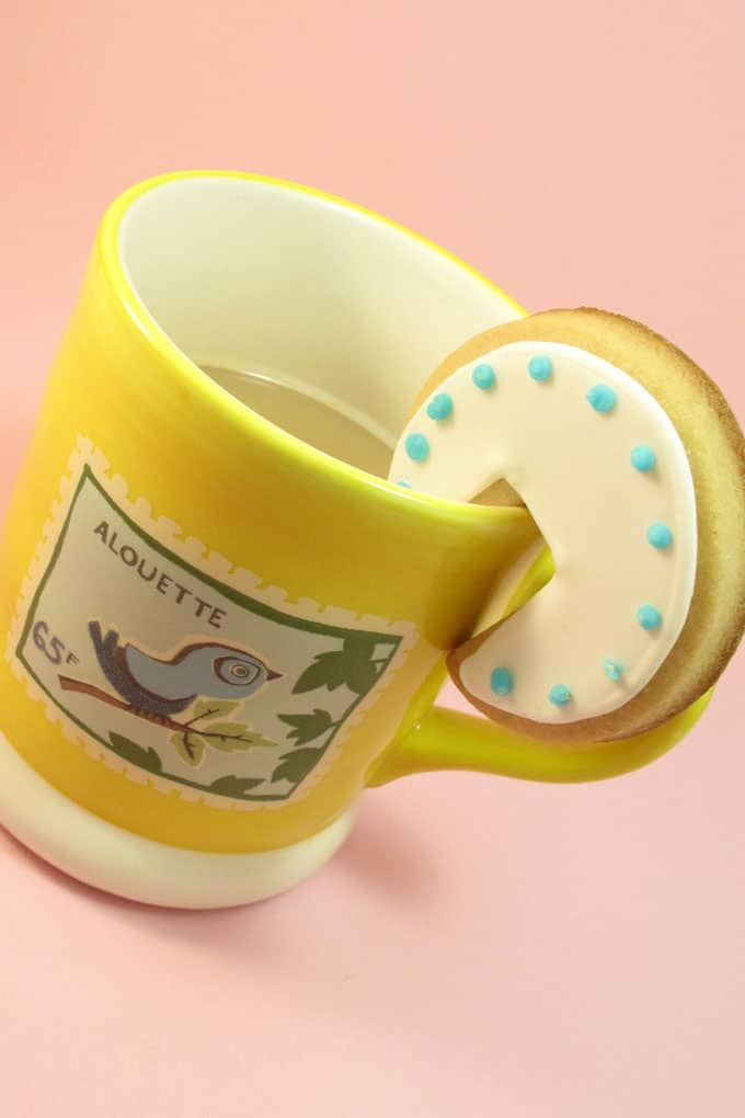 Tea cookies: Over-the-rim decorated cookies for a mug of tea.