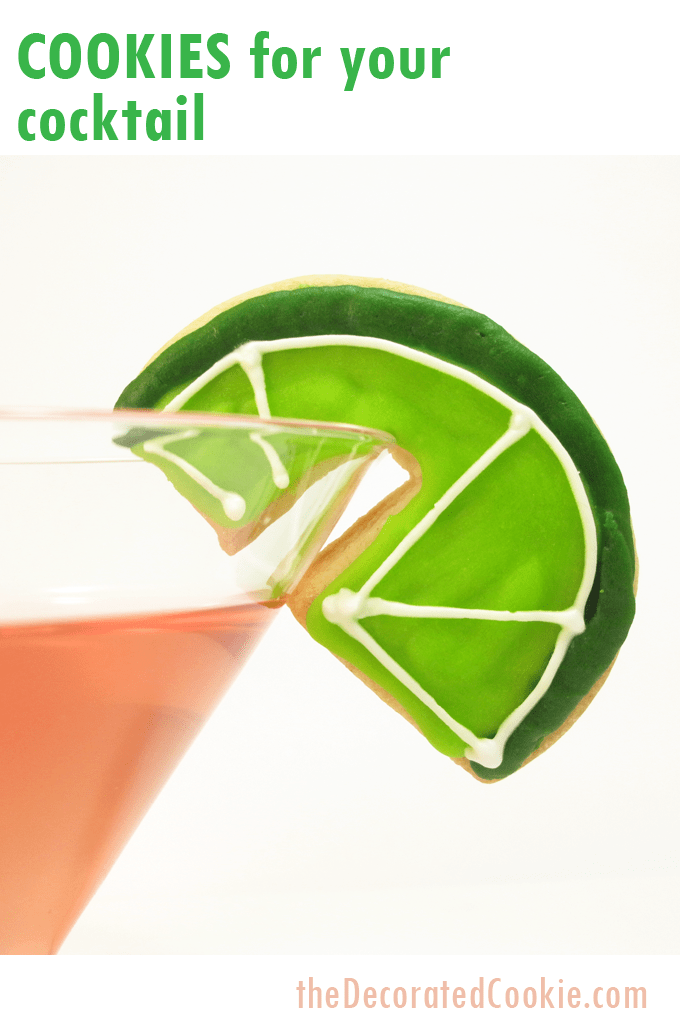 Cocktail cookies: How to decorate over-the-rim lime cookies for your drink.