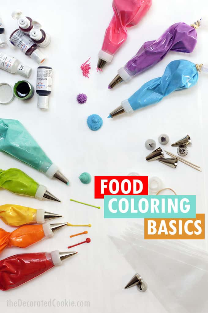 food coloring and icing bag supplies