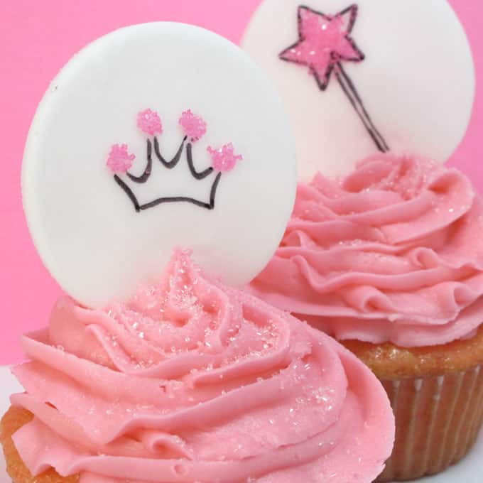 Princess cupcakes: How to make and decorate pink cupcakes and make princes cupcake toppers from fondant. #PrincessCupcakes #Fondant #Cupcakes #PinkCupcakes #CupcakeToppers