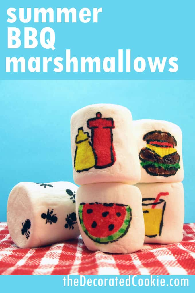BBQ marshmallows, marshmallow art for a summer cook-out or BBQ.