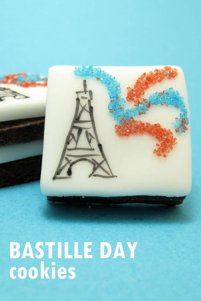 Bastille Day cookies: How to deocrate the Eiffel Tower and fireworks on cookies with fondant, food coloring pens, and sprinkles.
