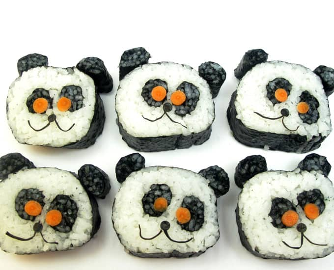 Panda sushi: How to make and roll vegetarian panda sushi. #pandabear #pandasushi #howtomakesushi #vegetarian #sushi