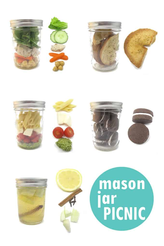How to pack a mason jar meal PICNIC! With recipes for lemonade, chocolate sandwich cookies, pesto pasta, chicken and chickpea salad, bagel chips. #masonjars #masonjarmeal #masonjarsalad #picnicideas #picnic