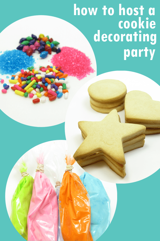 Everything you need to know to host a cookie decorating party for kids at home or in a classroom, including recipes, supplies, resources, tips and tricks. #cookiedecorating #party #kids