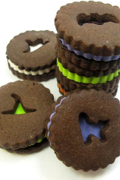 Halloween Linzer cookies: Fun and colorful chocolate sandwich cookies for Halloween.
