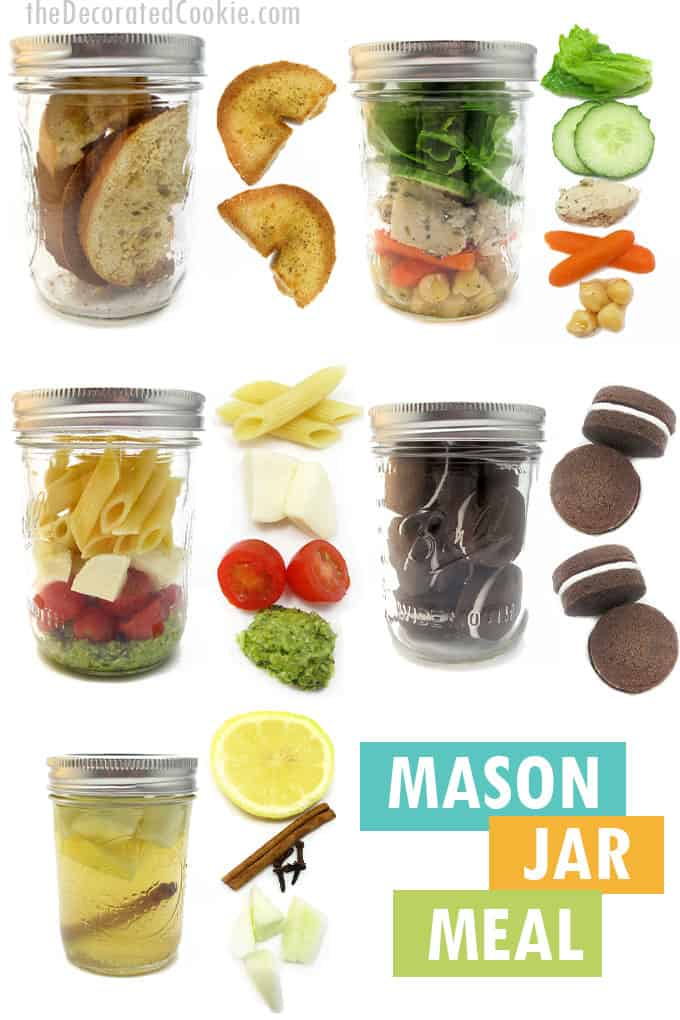 a meal in mason jars from appetizer to dessert