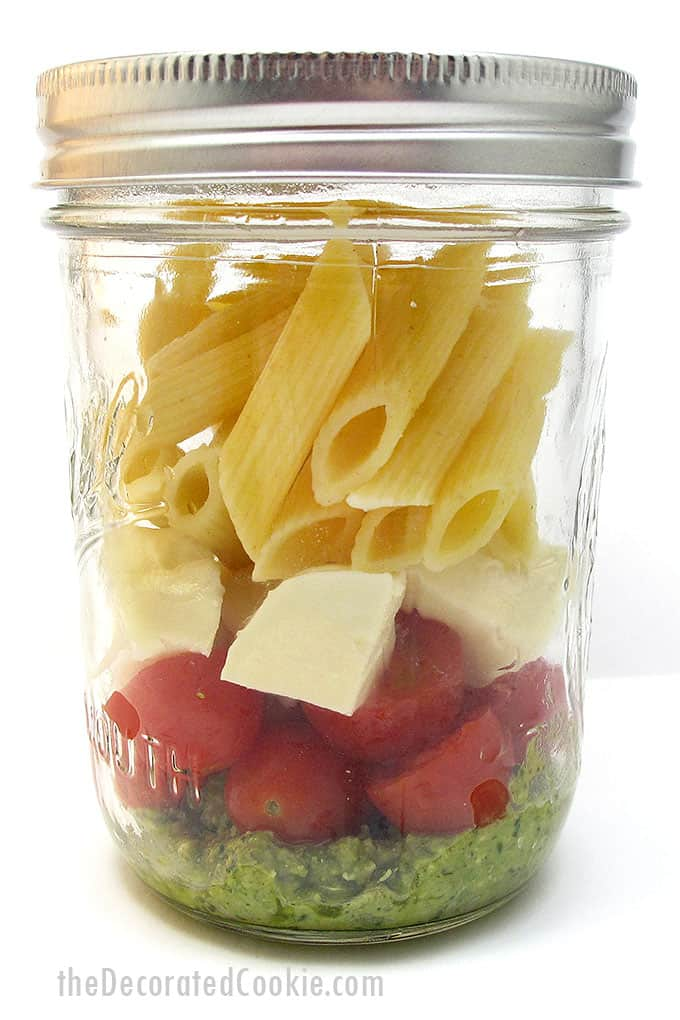 pesto pasta in a mason jar