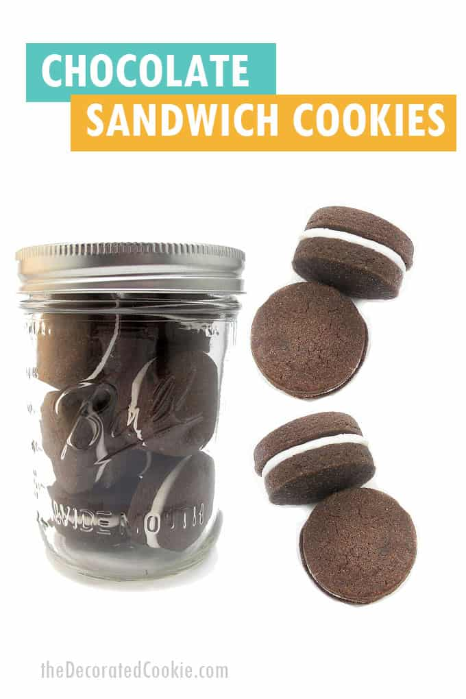 chocolate sandwich cookies in a jar