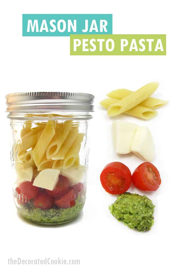 pesto pasta in mason jar