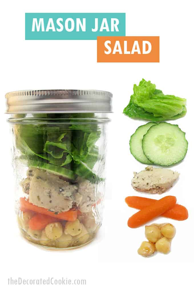 chicken, chick pea, carrot salad in mason jar