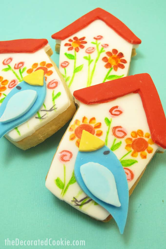 birdhouse cookies and bird cookies: How to paint on cookies  #cookiedecorating #cookiepainting #birdhouse #birdcookies