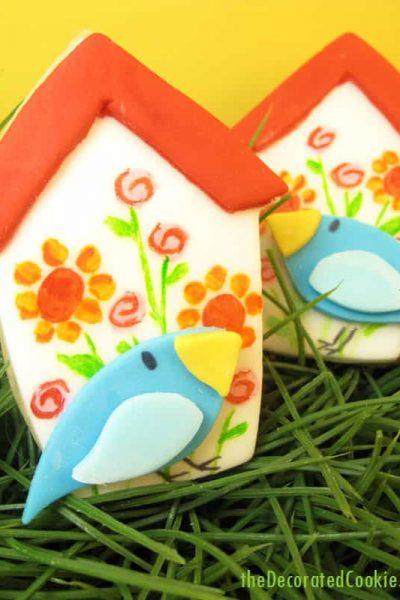 birdhouse cookies and bird cookies: How to paint on cookies #cookiedecorating #cookiepainting #birdhouse #birdcookies