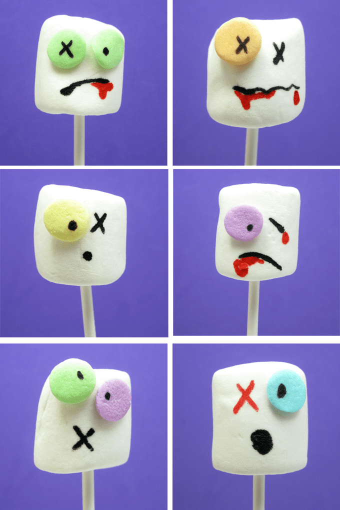 The original Zombie marshmallows on a stick for a spooky Halloween party food or for The Walking Dead party. #Zombies #Marshmallows #Halloween #TheWalkingDead #zombiemarshmallows