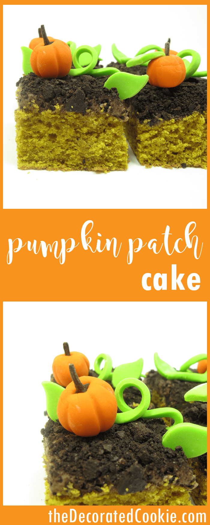 pumpkin patch cake -- cute and delicious Fall dessert
