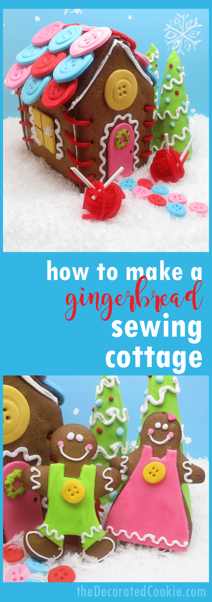 How to make a gingerbread house with a sewing theme -- fun Christmas craft