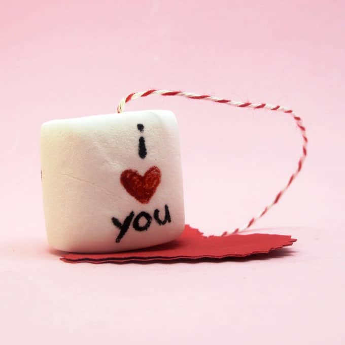 dunkable marshmallows on a string for Valentine's Day hot cocoa