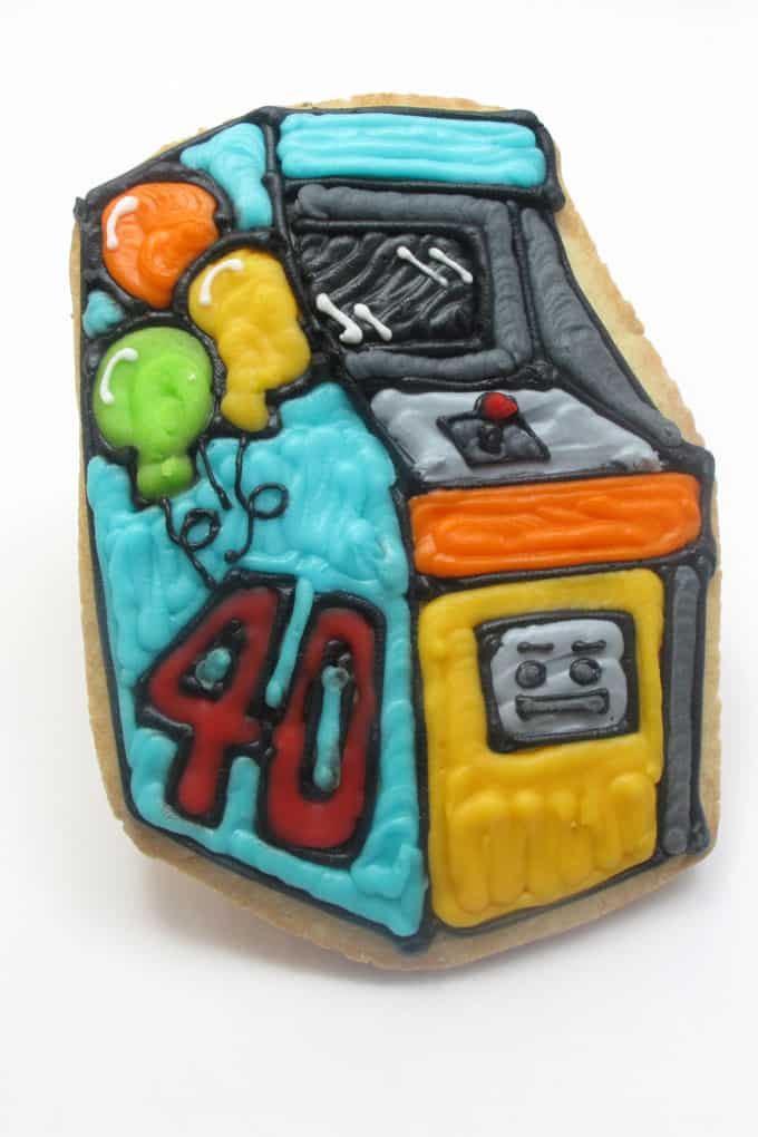 Pac Man and arcade game video console -- 1980s cookies - the decorated cookie