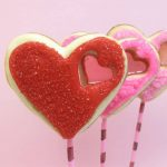 sparkly stained glass heart cookies