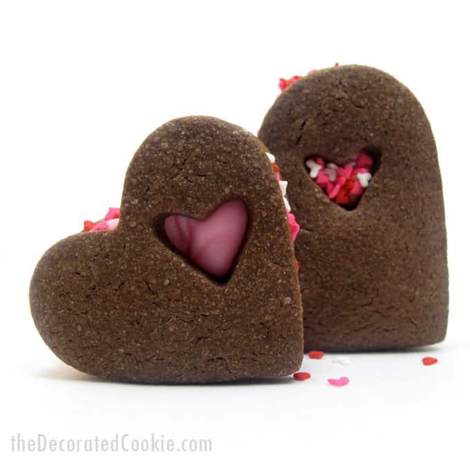 chocolate heart Valentine's Day sandwich cookies -- the Decorated Cookie  #heartcookies #valentinesday #chocolatecookies #sandwichcookies #sprinkles