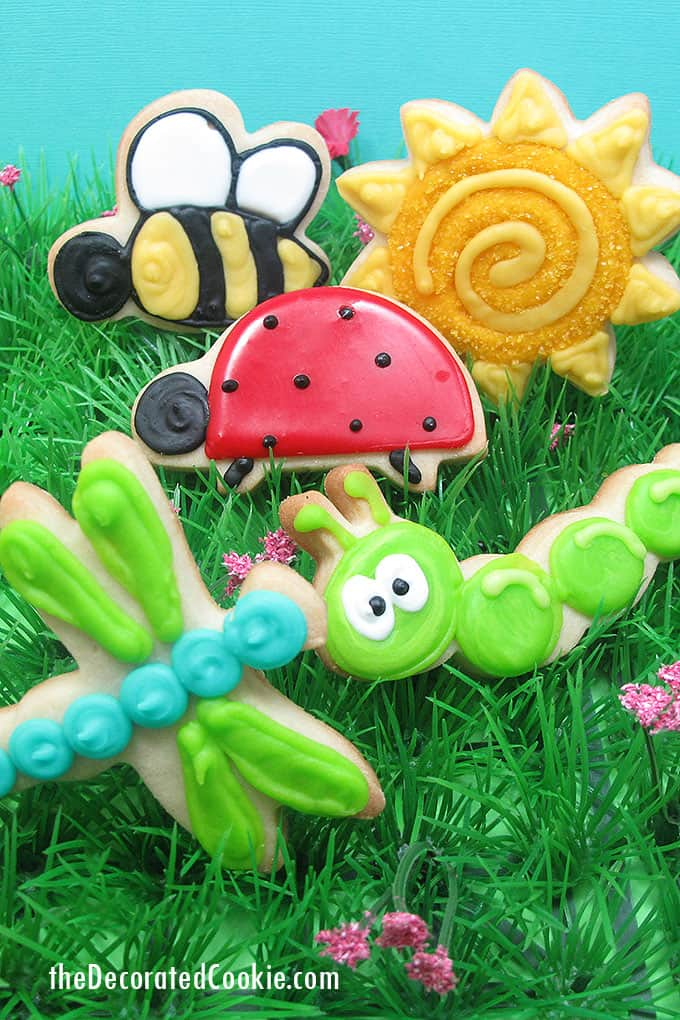 sun and bugs decorated cookies
