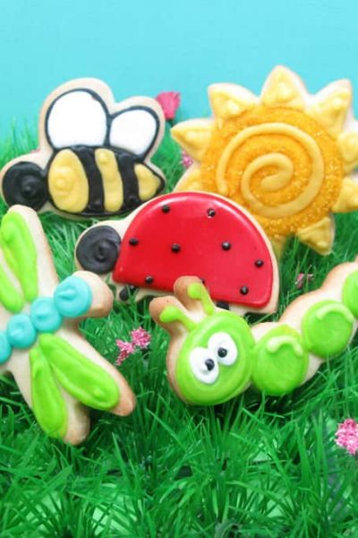 how to decorate sun cookies, daisy cookies, and happy bug cookies for Spring - the decorated cookie