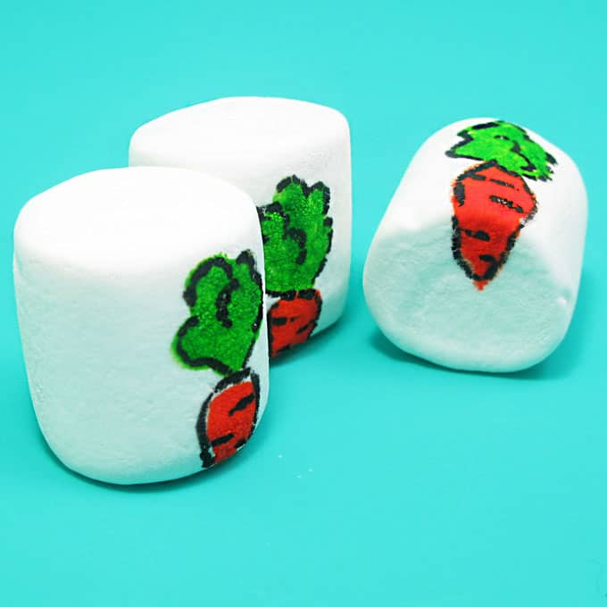 How to use food writers to make Easter marshmallow art. Great Easter activity for kids.