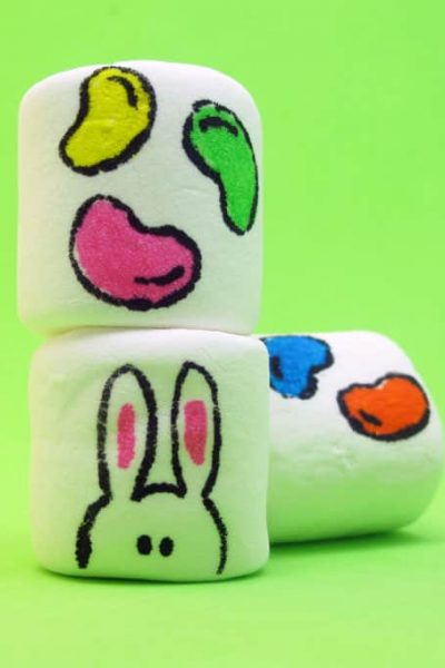 How to use food writers to make raining jelly beans marshmallows for Easter.