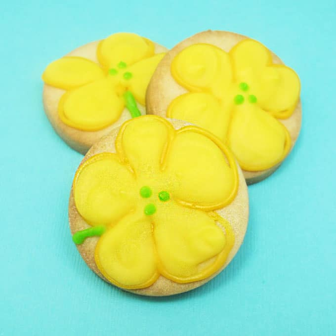 how to decorate wildflower cookies -- #wildflowers #cookiedecorating #buttercupflowers
