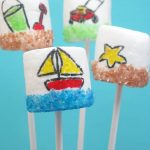 Summer marshmallows! Marshmallow art with food pens and sprinkles. Also, how to dye your own sprinkles with food coloring.